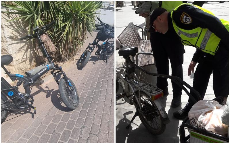 פעילות אכיפה נגד אופניים חשמליים (צילומים: דוברות המשטרה)